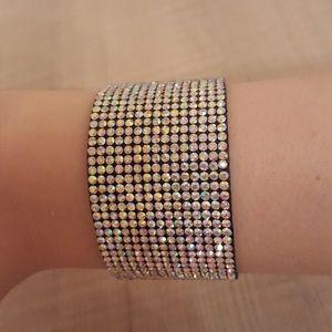 Golden rhinestone statement bracelet